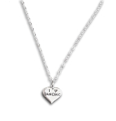 Sterling Silver Love Dancing Heart Pendant Necklace