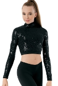 Balera Long Sleeve Sequin Dance Top
