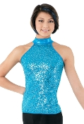 Balera Sequin & Metallic Halter Dance Top