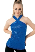 Balera Cross Neck Sequin Dance Top