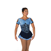 Jerry's 103 Brocade In Blue Figure Skating Dress