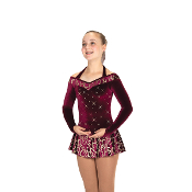 Jerry's 444 Border Of Bordeaux Figure Skating Dress